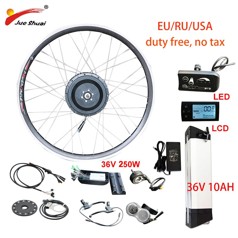 EU RU Duty Free No Tax 36V 250W e Bike Kit 36V10AH Lithium Battery Electric Bicycle Conversion Kit  Front Rear Hub Motor Wheel