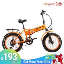 "Load image into Gallery viewer, 2020 new electric bike Fat tire 500W Mountain bike 7Speed 45km/h battery ebike 20"" Off road bike electric bicycle"