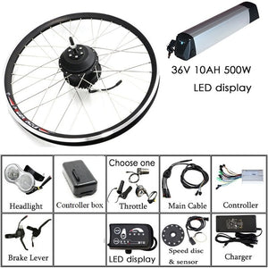"Free Shipping 36V/48V 250W/350W/500W Electric Bike Kit for Mountain Bike 20'' 26"" 700C Hub Motor Electric Motor LED for Bicycle"