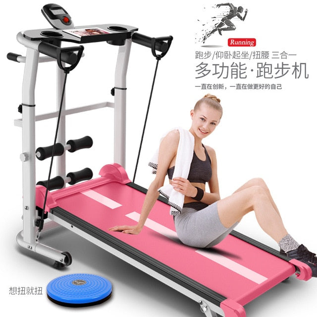 Pink Treadmill Foldable Manual Running Training Sports Multifunctional Mute Fitness Equipment 3 In1 Twisting Waist Machine
