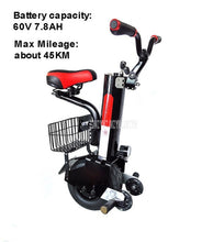 Load image into Gallery viewer, D3 500W Self Balancing Single Wheel Scooter One Wheel Smart Adult Electric Scooter Motorcycle 60V 5.2AH/7.8AH Lithium Battery