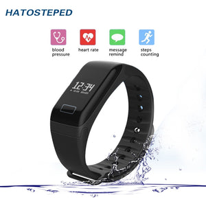 Bluetooth smart wristband Blood pressure monitoring With Touch Screen wristbands Support Remote photography For IOS Android