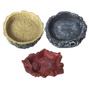 Natural-Looking Resin Reptile Feeder Bowl