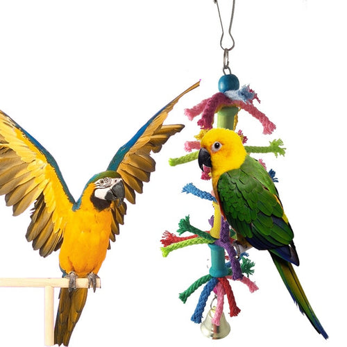 Hanging Rope Toy with Bell for Parrots