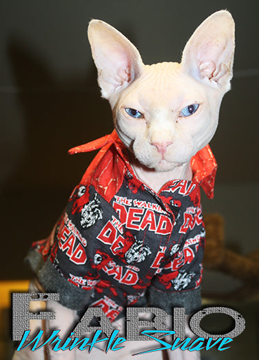 Sphynx Cat Dress Shirt Clothes Handmade Walking Dead Theme by KingTutsNakedButts