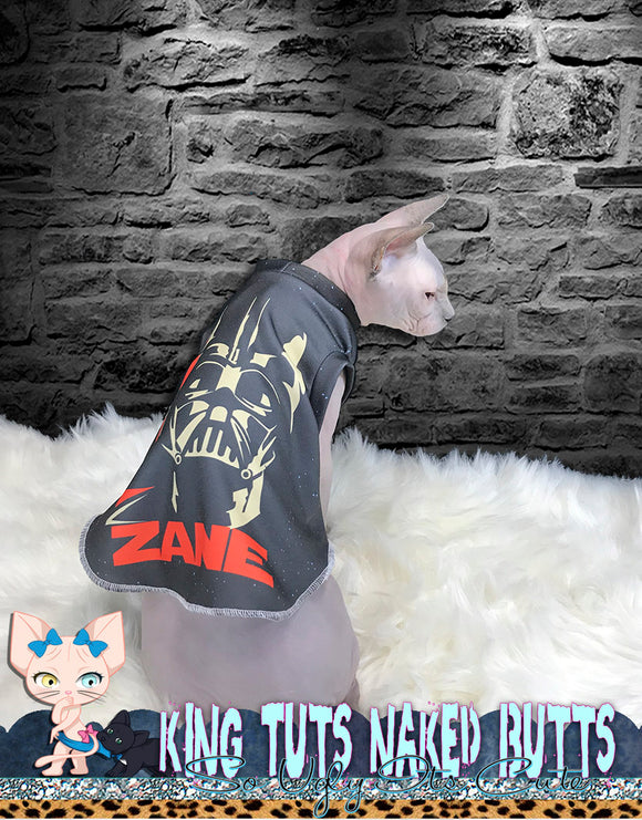 Sphynx Cat Shirt Tank Top Clothes Personalize Name Handmade Darth Vador Theme by KingTutsNakedButts