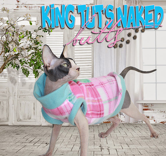 Sphynx Cat Sweater Clothes Handmade in pink , blue and mint green plaid by KingTutsNakedButts