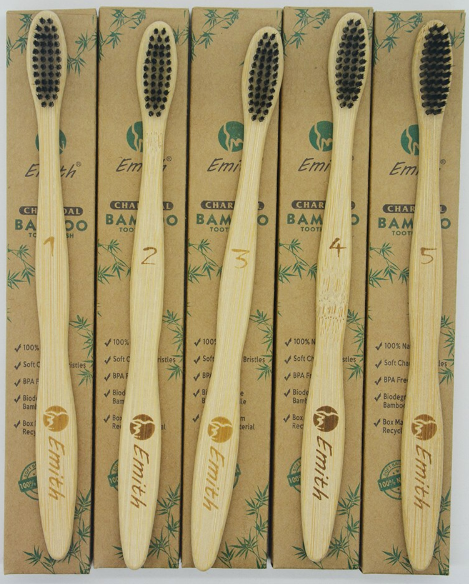 5 Piece Bamboo Toothbrush Set