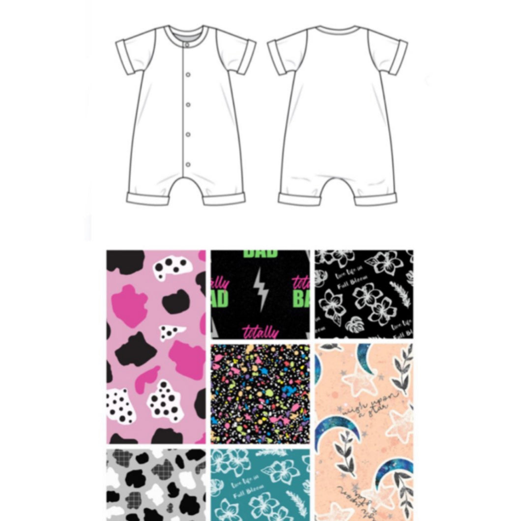 Exclusive Fabric Snap Popper Shortie Romper  - 7 Fabrics