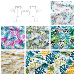 Summer Release Fabric Snap Popper Romper  - 6 Fabrics