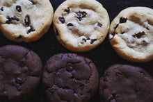 Load image into Gallery viewer, vegan chocolate chip and double chocolate chip cookies