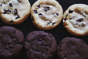 vegan chocolate chip and double chocolate chip cookies