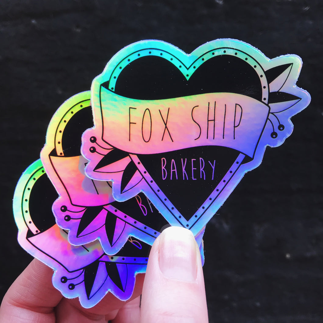 3 Holographic Foxship Bakery Stickers