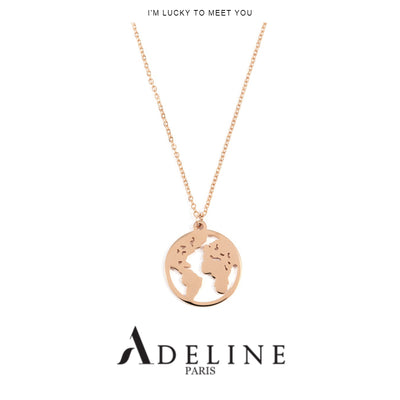 World Map Necklace Rose Gold