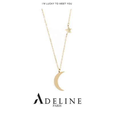 Star and Moon Pendant Necklace Gold