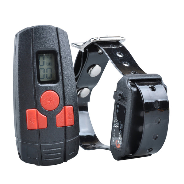 Black and red remote control next to black remote training collar