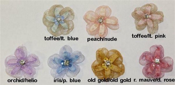Ribbon Embroidery Organza Five Petal Blossom