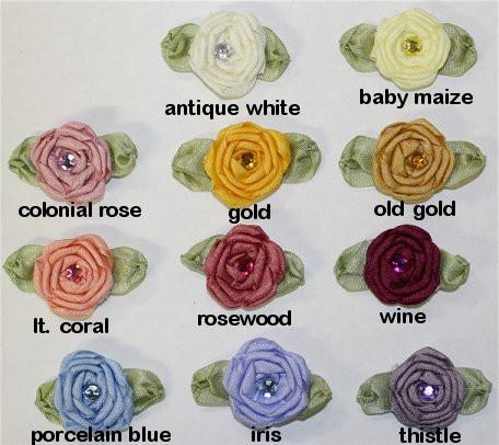 Ribbon Embroidery Coiled/Spider Web Rose w/stone, large