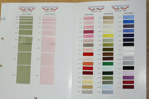 Sample Card, DF Silk Satin #2000 and SF Silk Satin #1000 - SilkRibbon.com