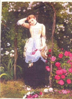 Silk Fabric Panel - Victorian Lady Gathering Roses - SilkRibbon.com