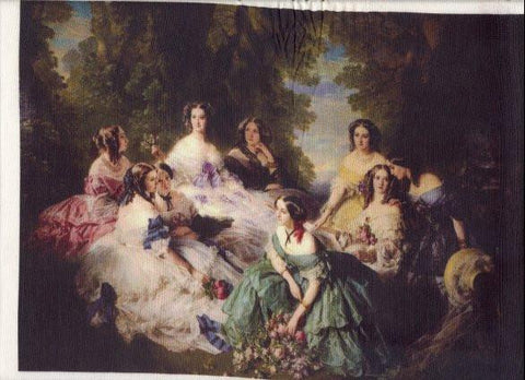 Silk Fabric Panel - Princess Eugenie and her Maids - SilkRibbon.com