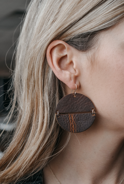 Hinged Leather Circle Earrings