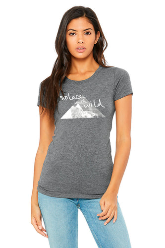 Solace in the Wild ladies gray tshirt front design