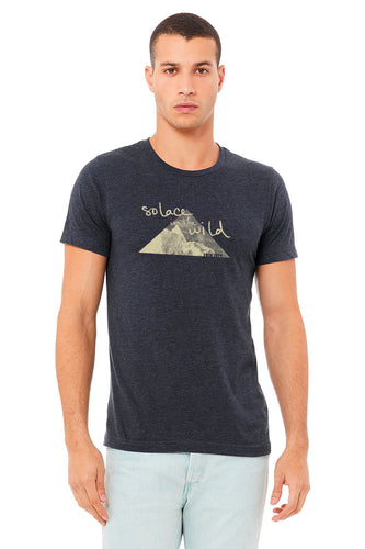 Solace in the Wild unisex tshirt front in heather navy