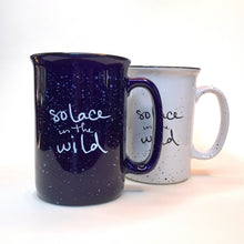 Load image into Gallery viewer, Solace in the Wild ceramic mugs in blue and white with retro speckle campfire style