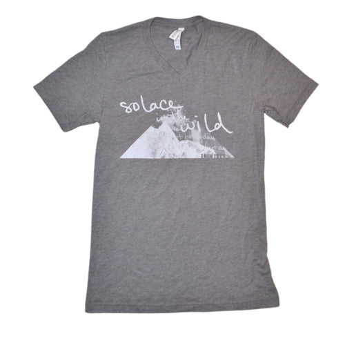 Solace in the Wild unisex gray v neck t-shirt front