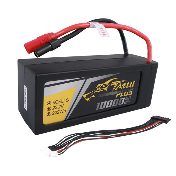 Tattu Plus 10000mAh 22.2V 25C 6S Lipo Battery with AS150+XT150 Plug - New Version