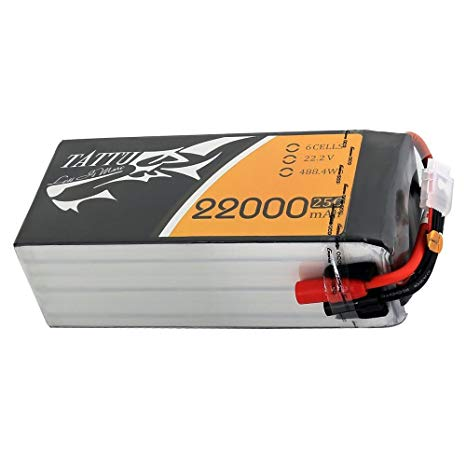 Tattu 22000mAh 6S1P 25C 22.2V Lipo Battery Pack with AS150+AS150 Plug