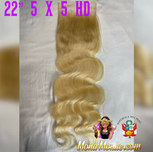 "Load image into Gallery viewer, Imported Peruvian 5 x 5 HD Closure (14-22"") Virgin Hair 613 Body Wave"