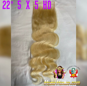 "Imported Peruvian 5 x 5 HD Closure (14-22"") Virgin Hair 613 Body Wave"