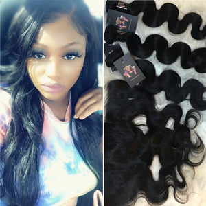 Body Wave Brazilian Virgin Human Celebrity Hair Bundles + Frontal Deal