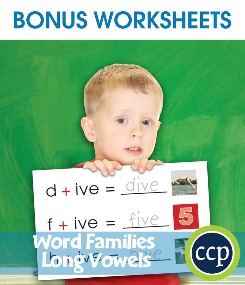 Word Families - Long Vowels - BONUS WORKSHEETS