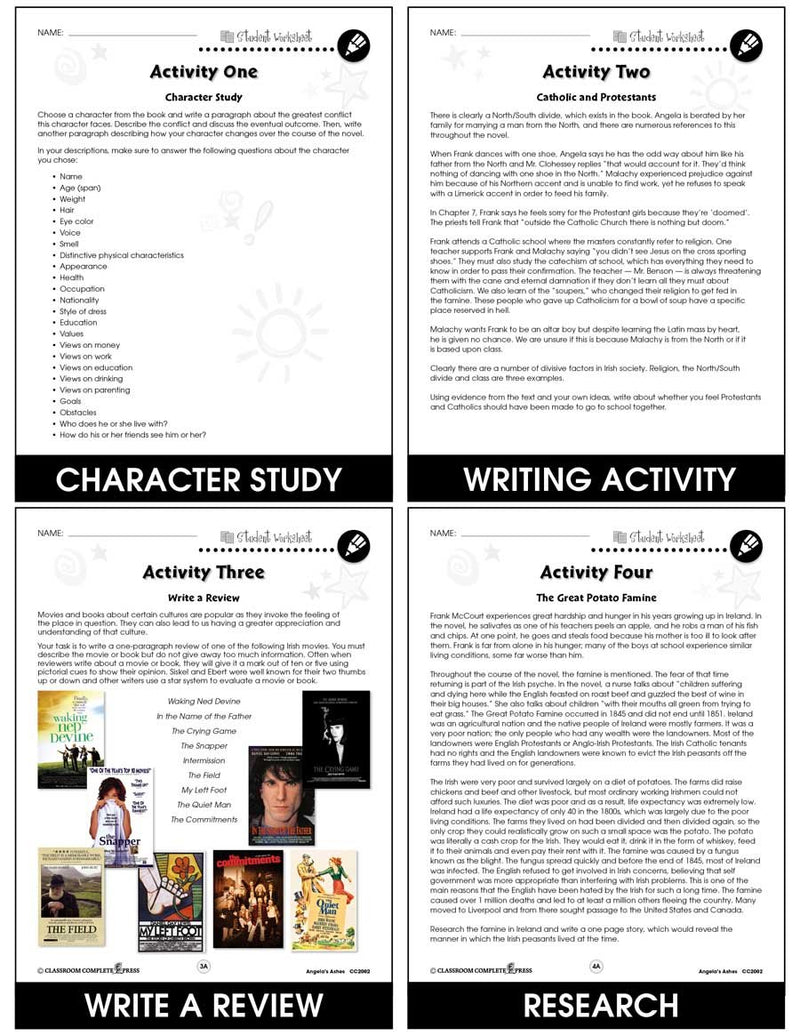 Angela's Ashes - BONUS WORKSHEETS