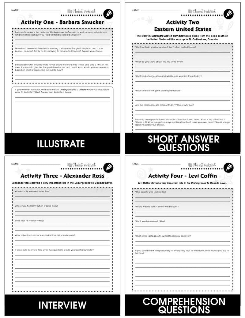 Underground to Canada - BONUS WORKSHEETS