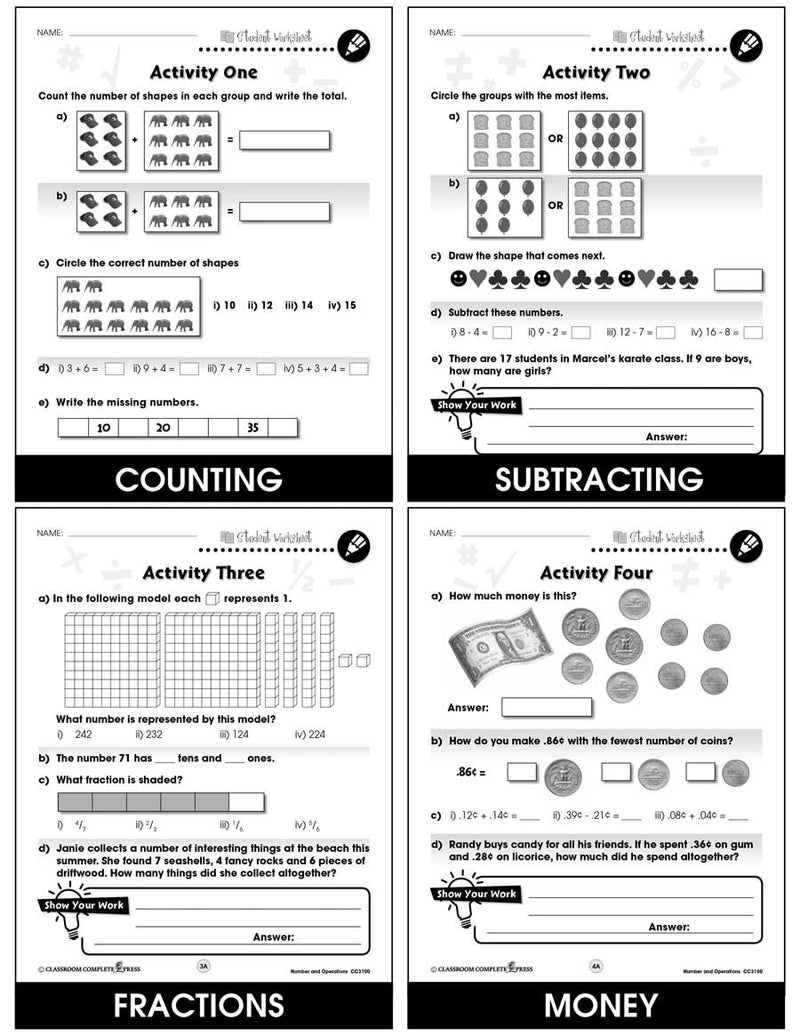 Number & Operations - Task Sheets Gr. PK-2 - BONUS WORKSHEETS