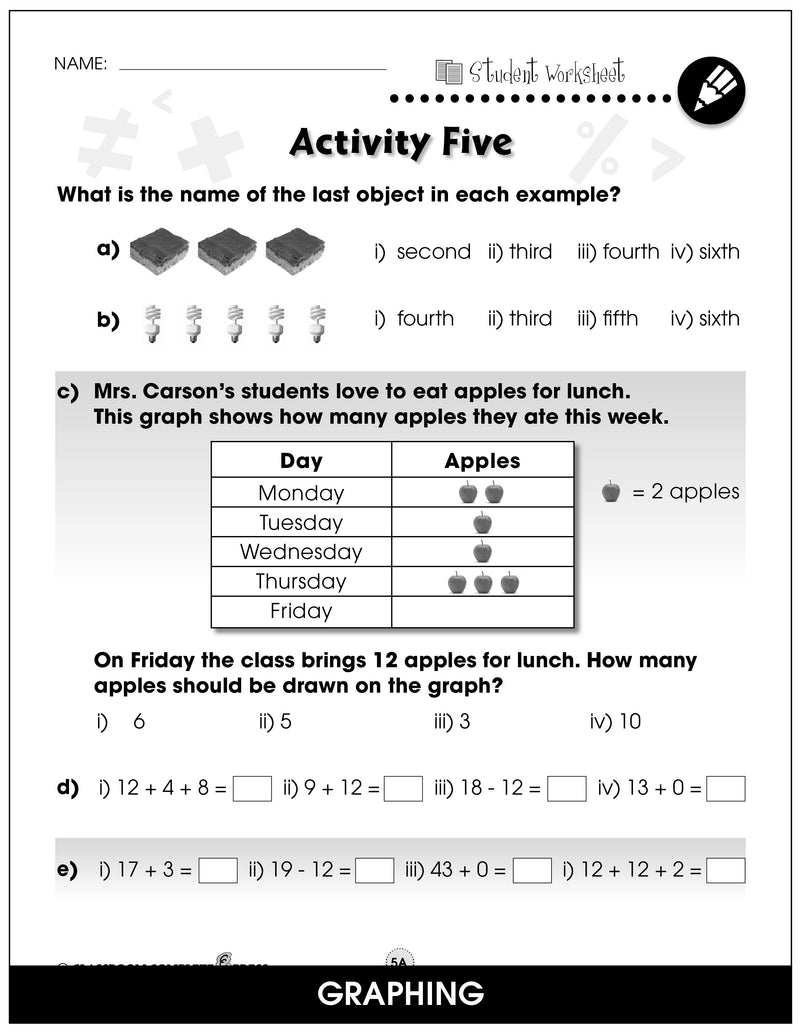Number & Operations - Grades PK-2 - Task Sheets