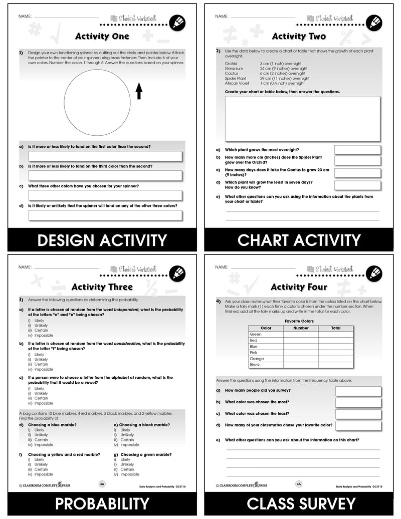 Data Analysis & Probability - Grades 3-5 - Task Sheets