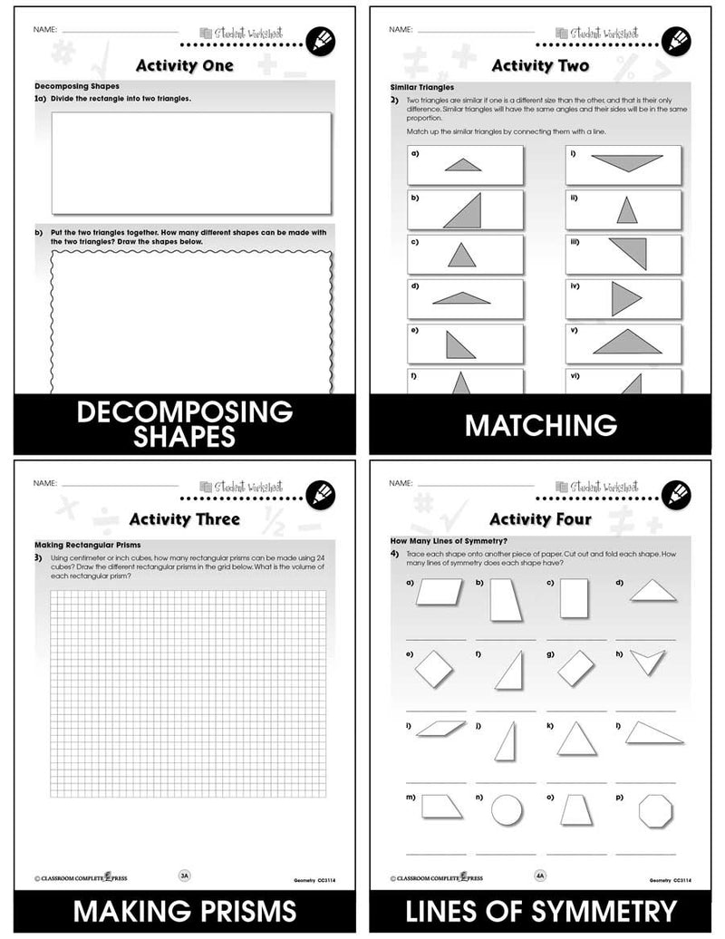 Geometry - Task Sheets Gr. 6-8 - BONUS WORKSHEETS