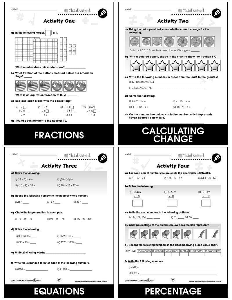 Number & Operations - Grades 3-5 - Drill Sheets
