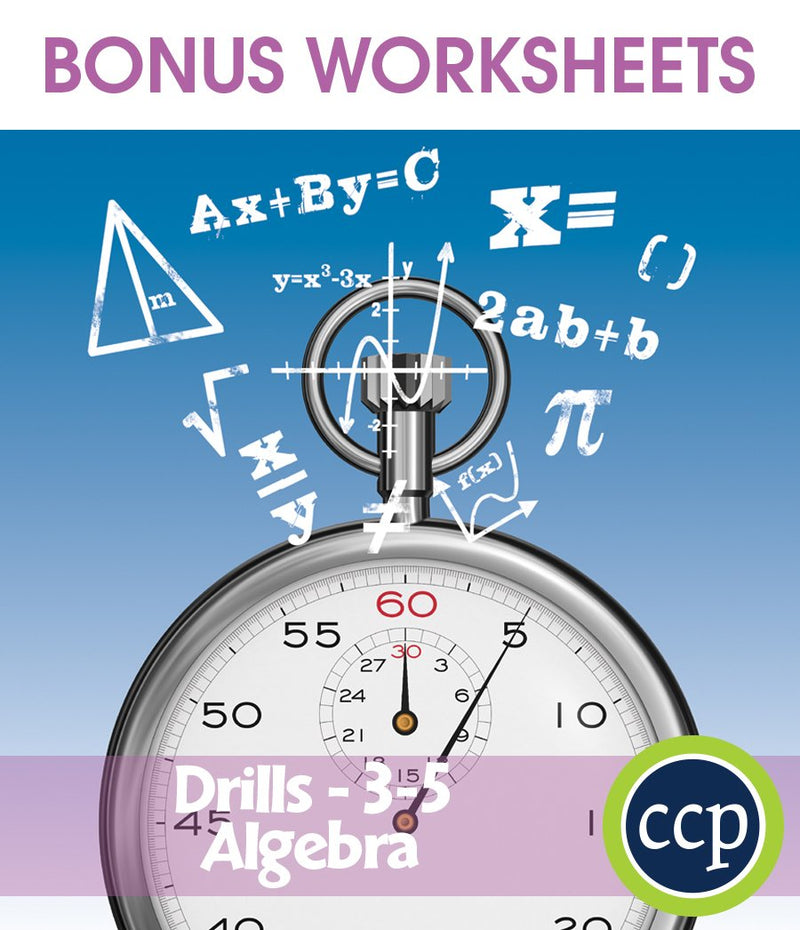 Algebra - Drill Sheets Gr. 3-5 - BONUS WORKSHEETS