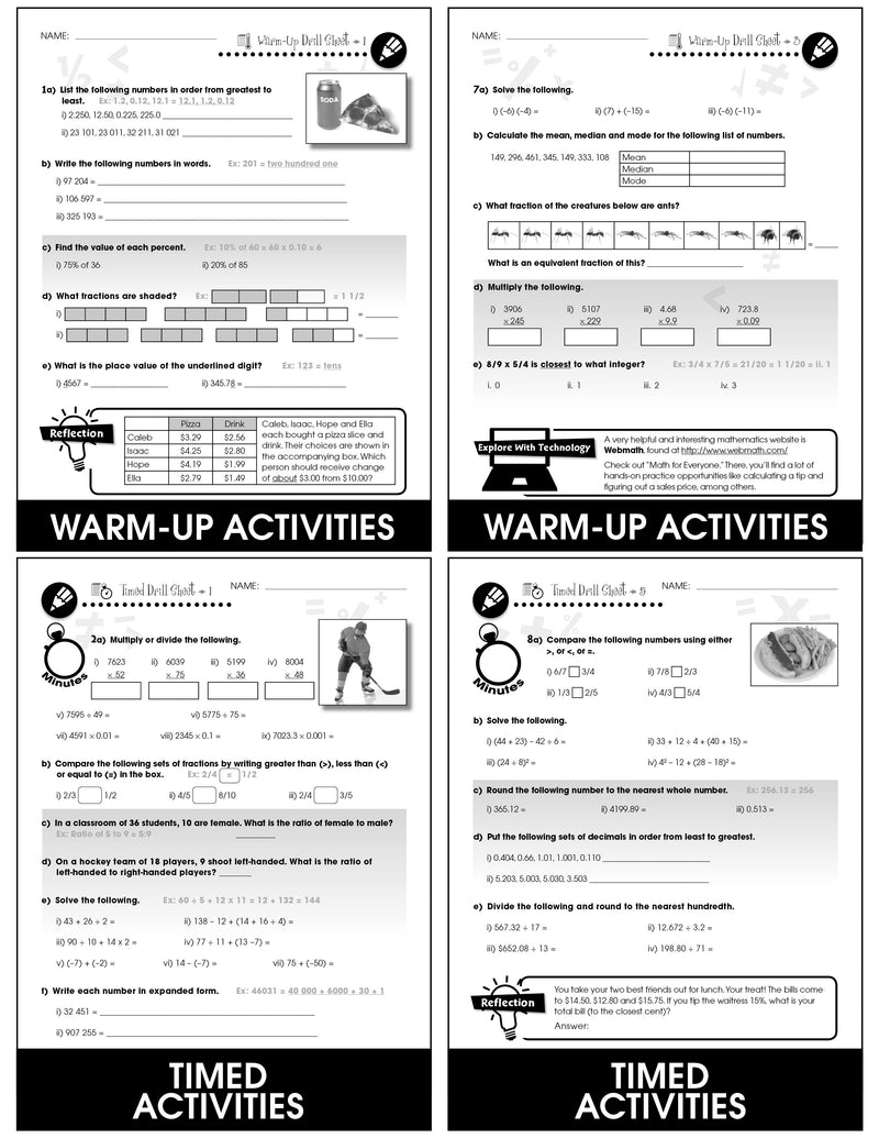Number & Operations - Grades 6-8 - Drill Sheets