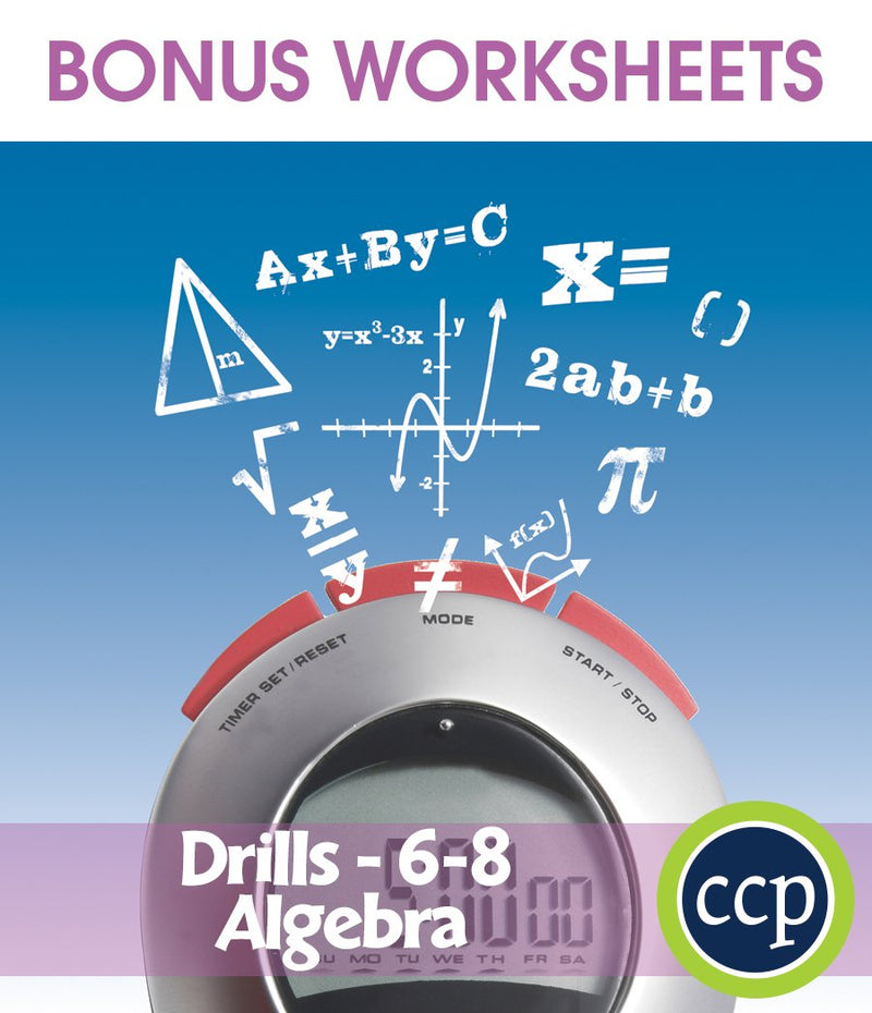 Algebra - Drill Sheets Gr. 6-8 - BONUS WORKSHEETS