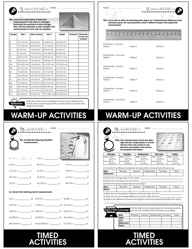 Measurement - Grades 6-8 - Drill Sheets