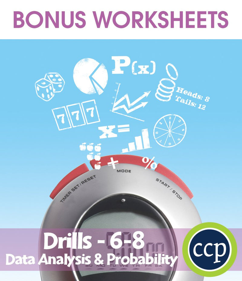 Data Analysis & Probability - Drill Sheets Gr. 6-8 - BONUS WORKSHEETS