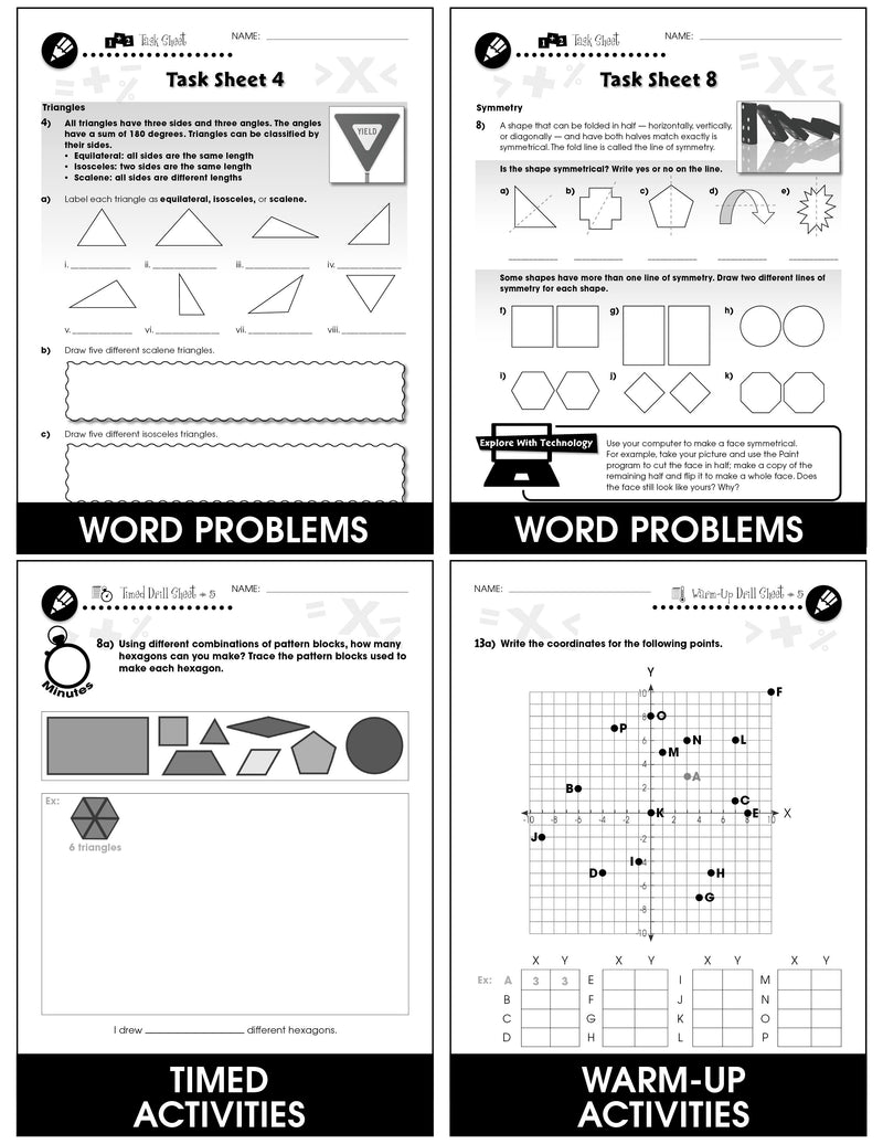 Geometry - Grades 3-5 - Task & Drill Sheets - Canadian Content