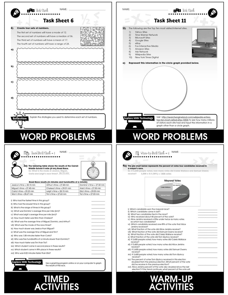 Data Analysis & Probability - Grades 6-8 - Task & Drill Sheets - Canadian Content